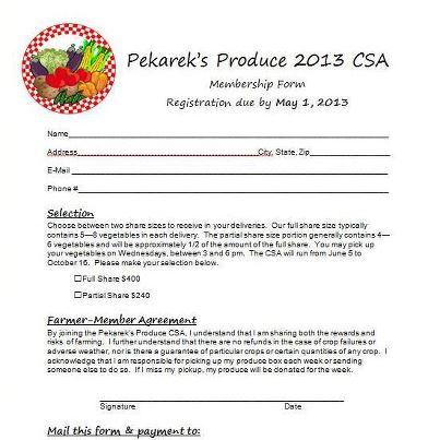 2013 Csa Information Pekareks Produce