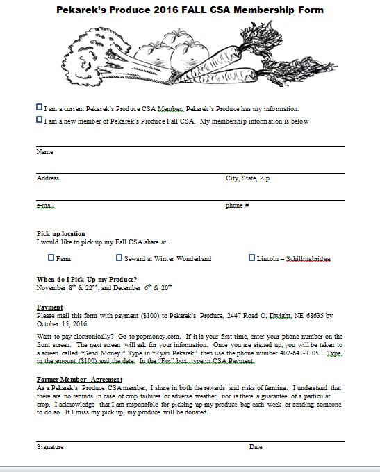 Fall CSA Membership Form